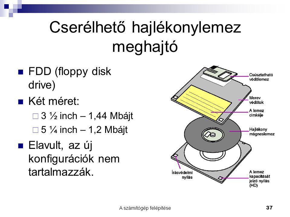 A számítógép felépítése37 Cserélhető hajlékonylemez meghajtó  FDD (floppy disk drive)  Két méret:  3 ½ inch – 1,44 Mbájt  5 ¼ inch – 1,2 Mbájt  Elavult, az új konfigurációk nem tartalmazzák.