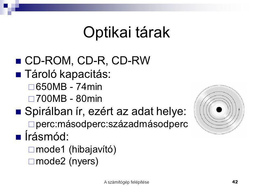 A számítógép felépítése42 Optikai tárak  CD-ROM, CD-R, CD-RW  Tároló kapacitás:  650MB - 74min  700MB - 80min  Spirálban ír, ezért az adat helye:  perc:másodperc:századmásodperc  Írásmód:  mode1 (hibajavító)  mode2 (nyers)