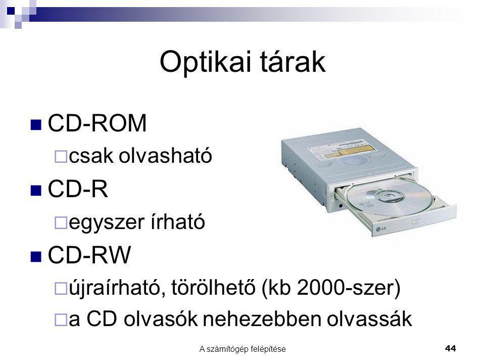 A számítógép felépítése44 Optikai tárak  CD-ROM  csak olvasható  CD-R  egyszer írható  CD-RW  újraírható, törölhető (kb 2000-szer)  a CD olvasók nehezebben olvassák