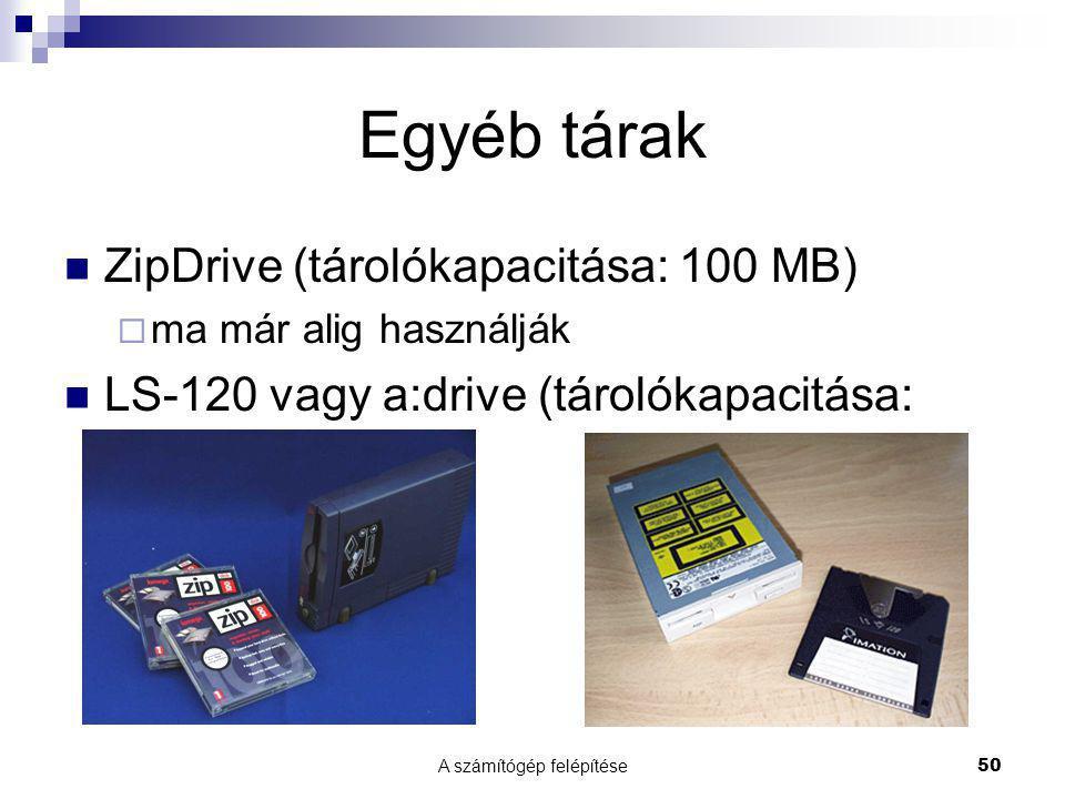 A számítógép felépítése50 Egyéb tárak  ZipDrive (tárolókapacitása: 100 MB)  ma már alig használják  LS-120 vagy a:drive (tárolókapacitása: 120 MB)