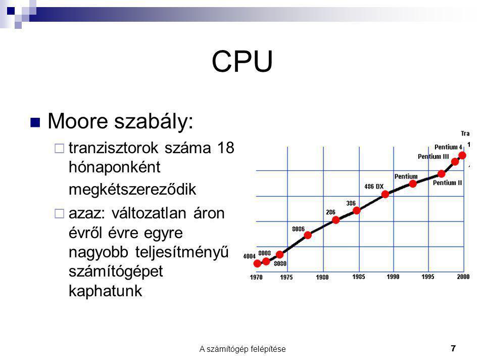 A számítógép felépítése7 CPU  Moore szabály:  tranzisztorok száma 18 hónaponként megkétszereződik  azaz: változatlan áron évről évre egyre nagyobb