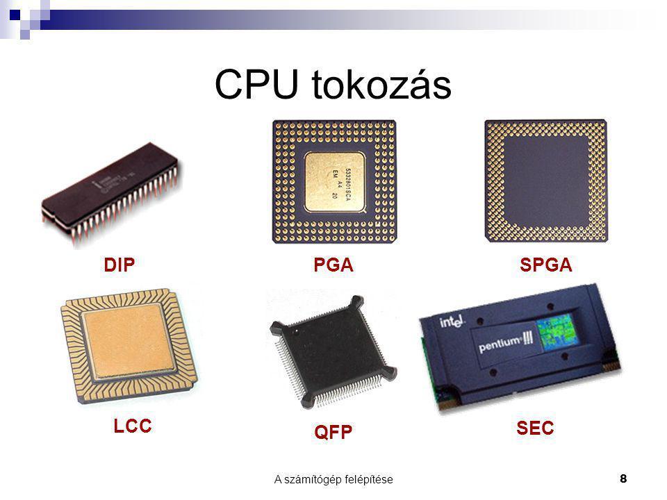 A számítógép felépítése39 Merevlemez  zárt  ténylegesen merev  compact csomagolás, pára és pormentes  nagy írássűrűség  általában nem egy, hanem több egymással párhuzamos lemezből áll