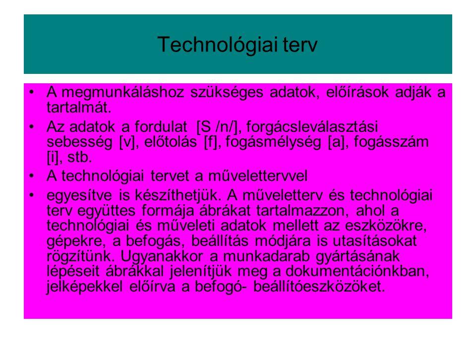 Technológiai terv •A megmunkáláshoz szükséges adatok, előírások adják a tartalmát. •Az adatok a fordulat [S /n/], forgácsleválasztási sebesség [v], el