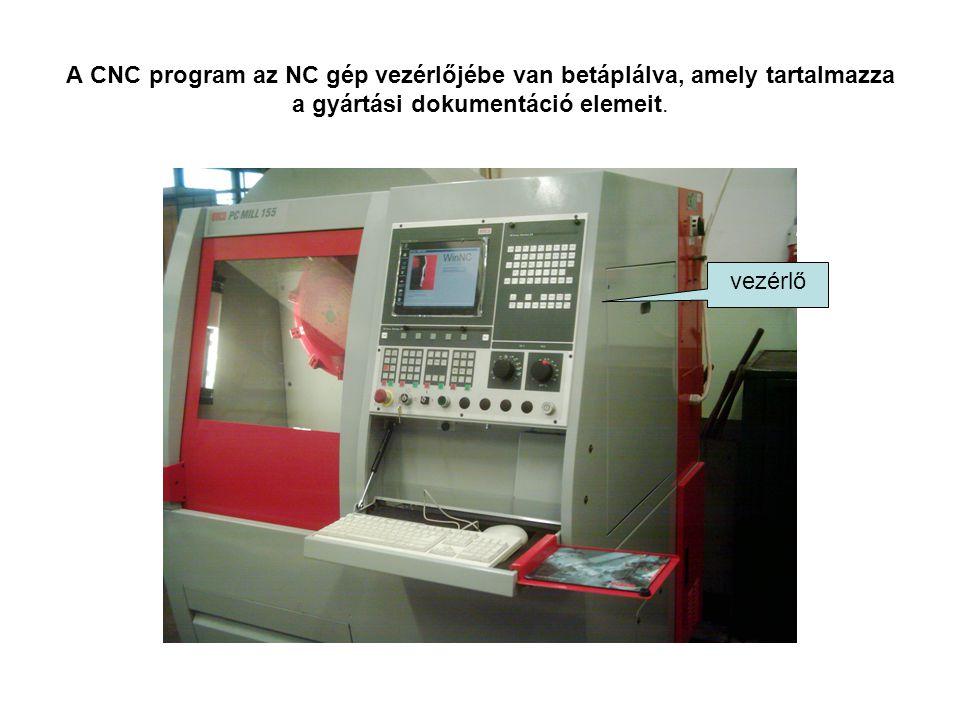 A CNC program az NC gép vezérlőjébe van betáplálva, amely tartalmazza a gyártási dokumentáció elemeit. vezérlő