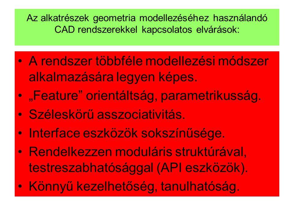 Az alkatrészek geometria modellezéséhez használandó CAD rendszerekkel kapcsolatos elvárások: •A rendszer többféle modellezési módszer alkalmazására le