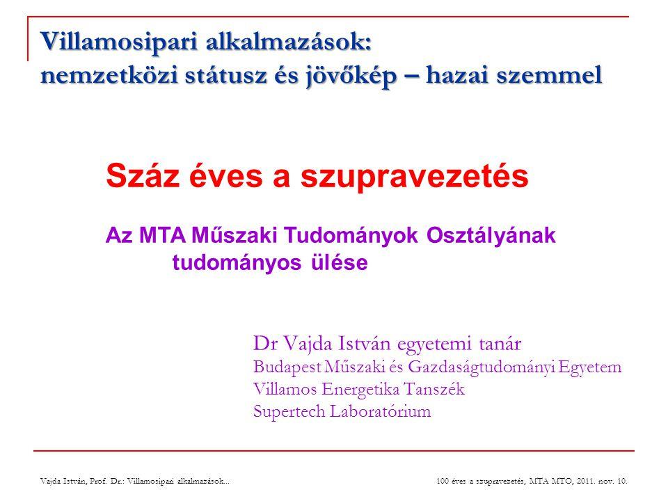Vajda István, Prof. Dr.: Villamosipari alkalmazások... 100 éves a szupravezetés, MTA MTO, 2011. nov. 10. Villamosipari alkalmazások: nemzetközi státus
