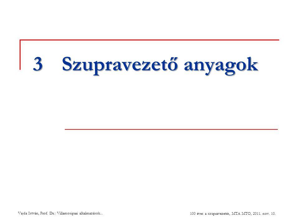 Vajda István, Prof. Dr.: Villamosipari alkalmazások... 100 éves a szupravezetés, MTA MTO, 2011. nov. 10. 3Szupravezető anyagok