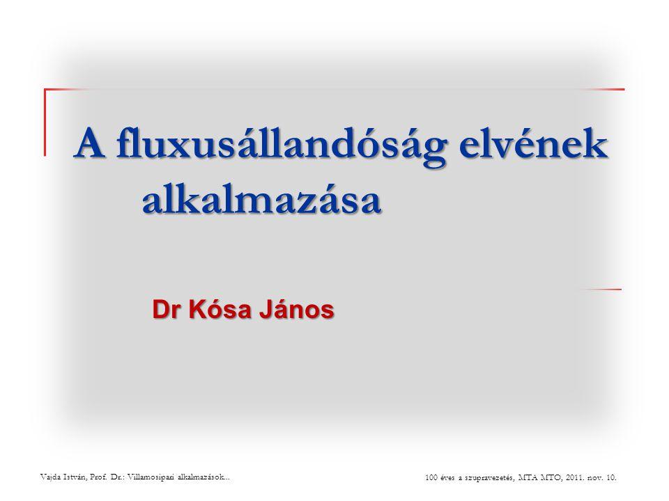 A fluxusállandóság elvének alkalmazása Dr Kósa János Vajda István, Prof. Dr.: Villamosipari alkalmazások... 100 éves a szupravezetés, MTA MTO, 2011. n