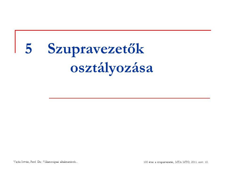 Vajda István, Prof. Dr.: Villamosipari alkalmazások... 100 éves a szupravezetés, MTA MTO, 2011. nov. 10. 5Szupravezetők osztályozása