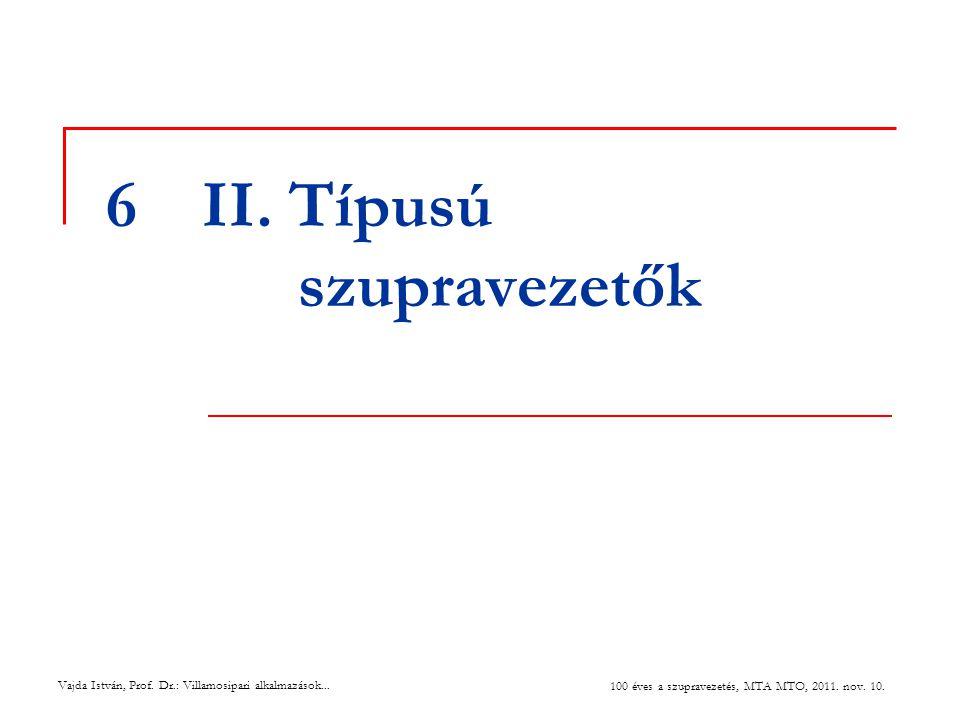 6II. Típusú szupravezetők Vajda István, Prof. Dr.: Villamosipari alkalmazások... 100 éves a szupravezetés, MTA MTO, 2011. nov. 10.