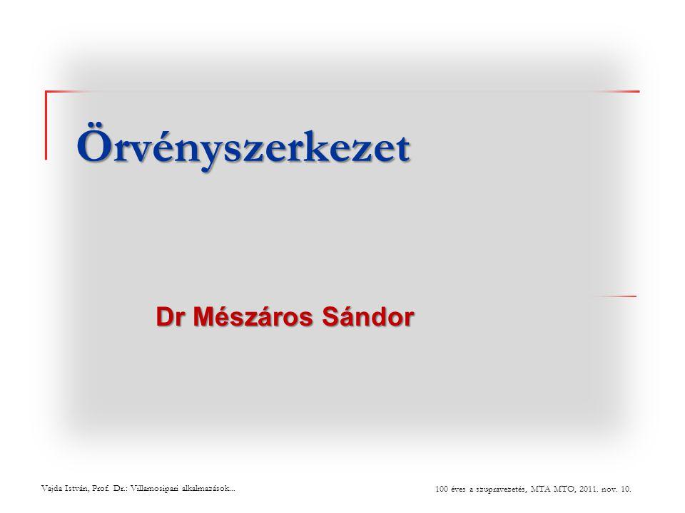 Örvényszerkezet Dr Mészáros Sándor Vajda István, Prof. Dr.: Villamosipari alkalmazások... 100 éves a szupravezetés, MTA MTO, 2011. nov. 10.