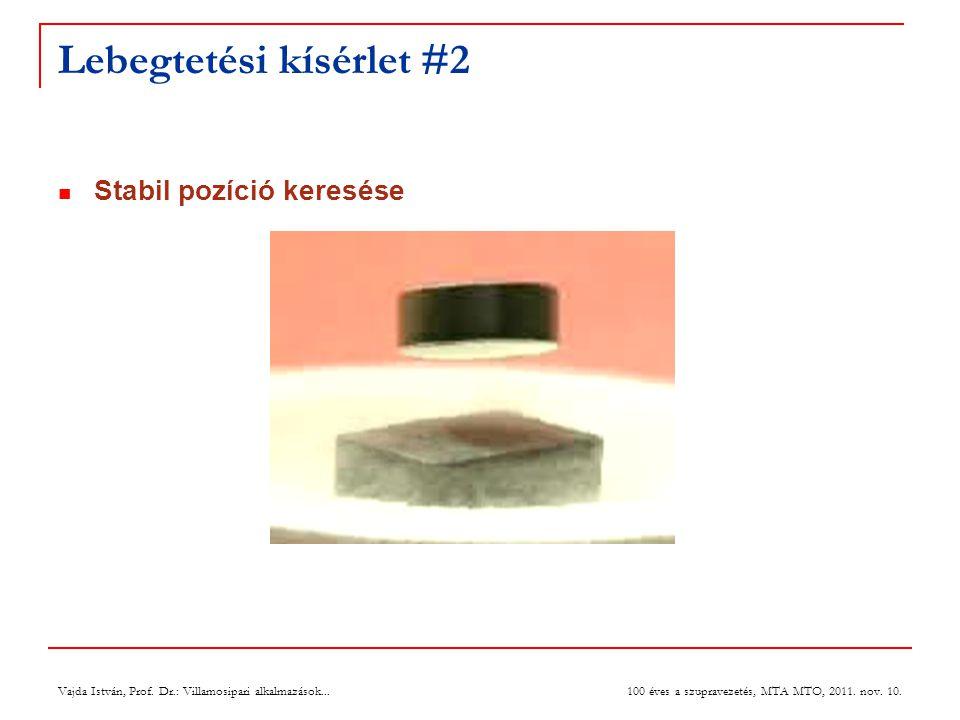 Vajda István, Prof. Dr.: Villamosipari alkalmazások... 100 éves a szupravezetés, MTA MTO, 2011. nov. 10. Lebegtetési kísérlet #2  Stabil pozíció kere