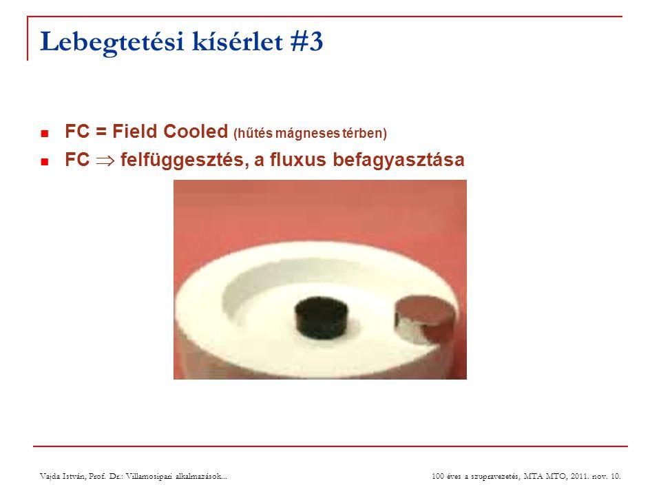Vajda István, Prof. Dr.: Villamosipari alkalmazások... 100 éves a szupravezetés, MTA MTO, 2011. nov. 10. Lebegtetési kísérlet #3  FC = Field Cooled (