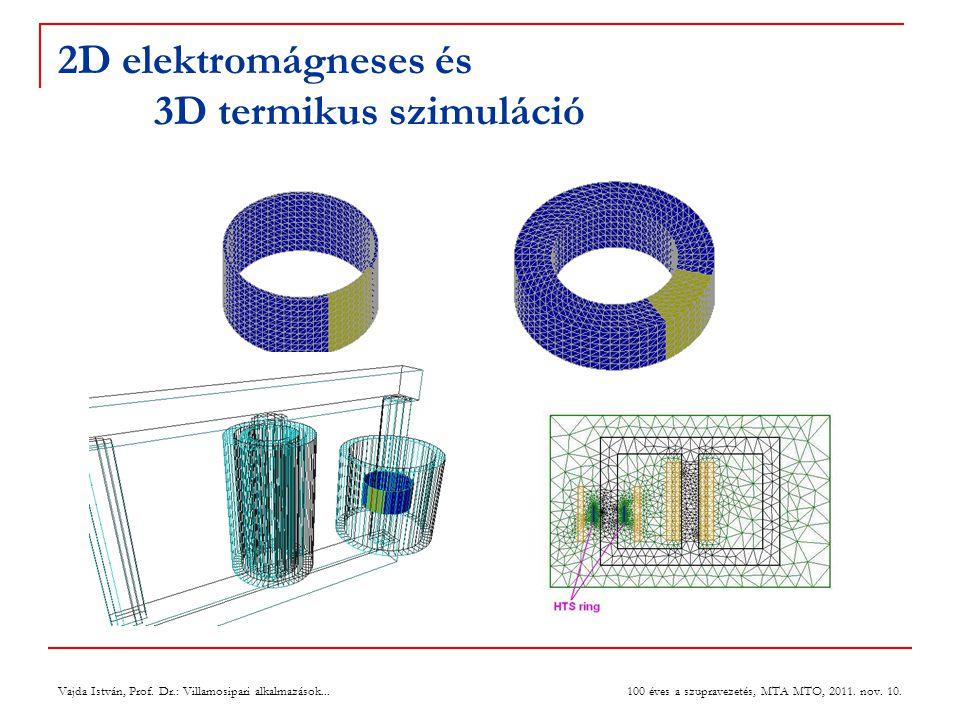 2D elektromágneses és 3D termikus szimuláció Vajda István, Prof. Dr.: Villamosipari alkalmazások... 100 éves a szupravezetés, MTA MTO, 2011. nov. 10.
