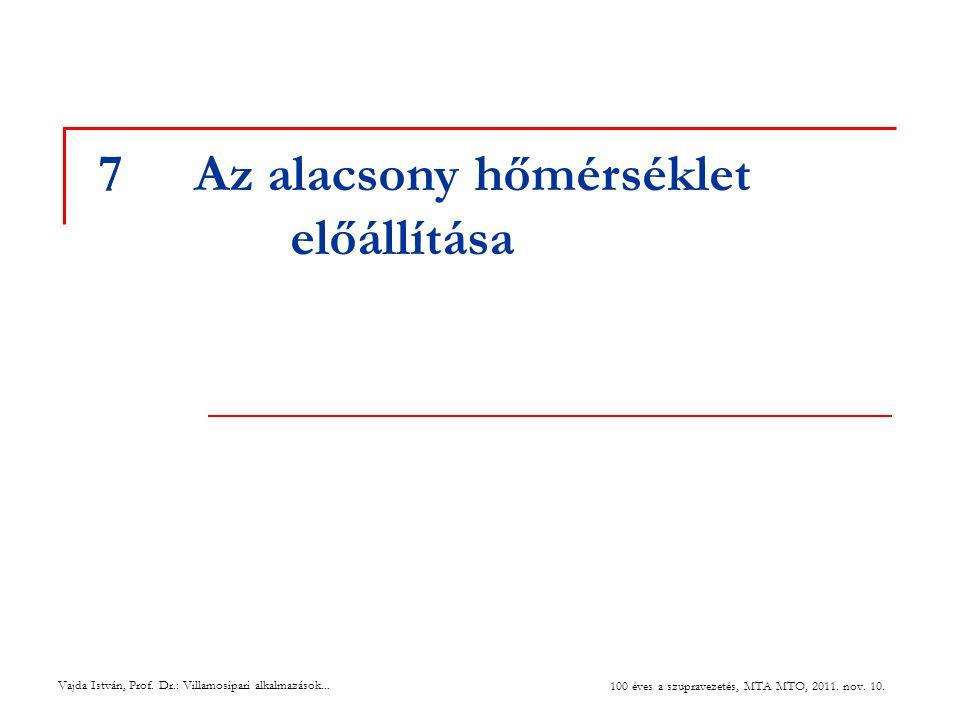 Vajda István, Prof. Dr.: Villamosipari alkalmazások... 100 éves a szupravezetés, MTA MTO, 2011. nov. 10. 7Az alacsony hőmérséklet előállítása