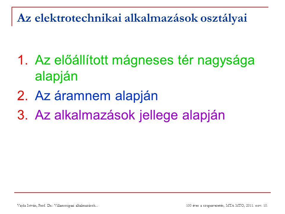 Vajda István, Prof. Dr.: Villamosipari alkalmazások... 100 éves a szupravezetés, MTA MTO, 2011. nov. 10. Az elektrotechnikai alkalmazások osztályai 1.