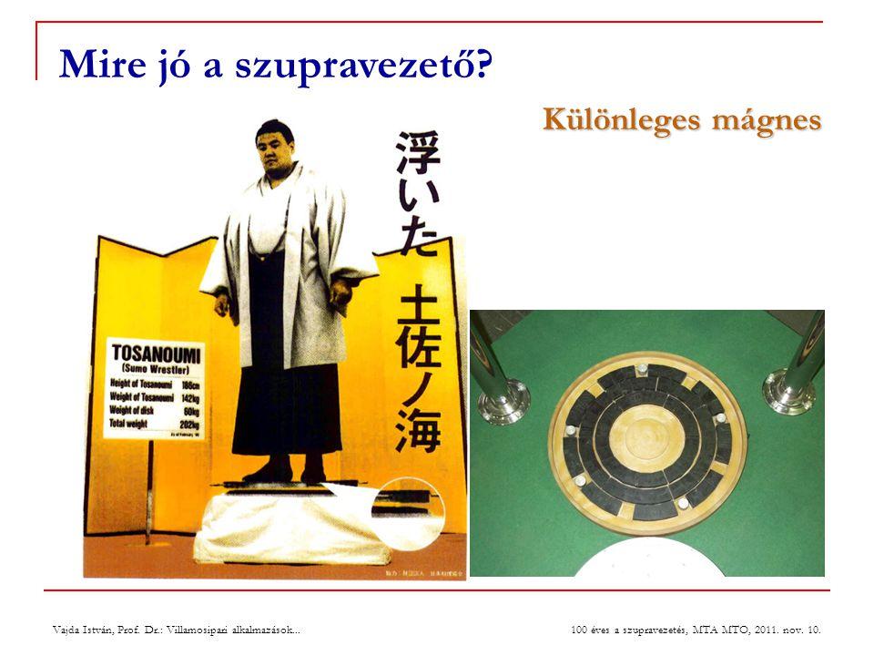 Vajda István, Prof. Dr.: Villamosipari alkalmazások... 100 éves a szupravezetés, MTA MTO, 2011. nov. 10. Mire jó a szupravezető? Különleges mágnes