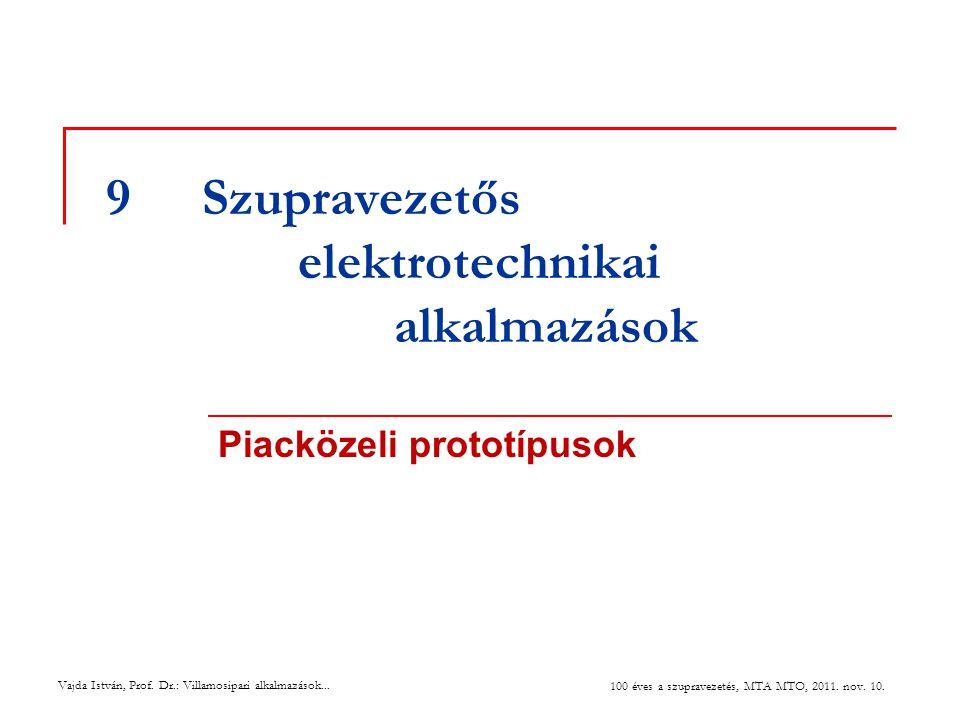 Vajda István, Prof. Dr.: Villamosipari alkalmazások... 100 éves a szupravezetés, MTA MTO, 2011. nov. 10. 9Szupravezetős elektrotechnikai alkalmazások