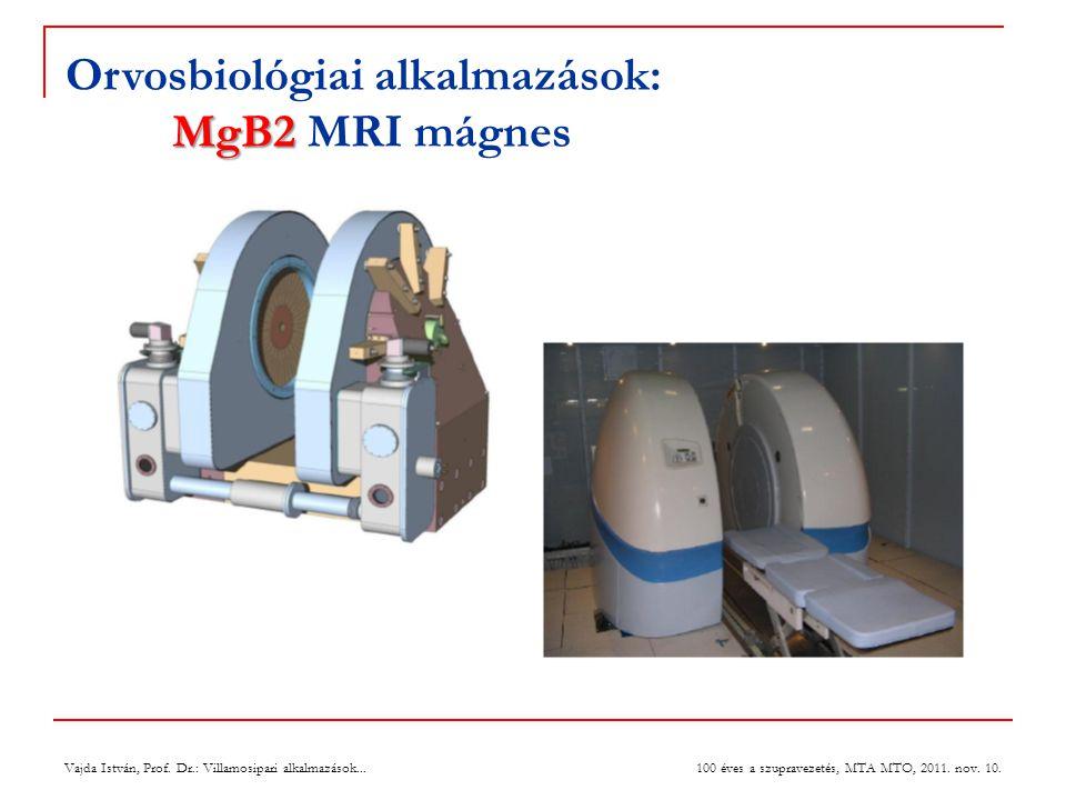 Vajda István, Prof. Dr.: Villamosipari alkalmazások... 100 éves a szupravezetés, MTA MTO, 2011. nov. 10. MgB2 Orvosbiológiai alkalmazások: MgB2 MRI má