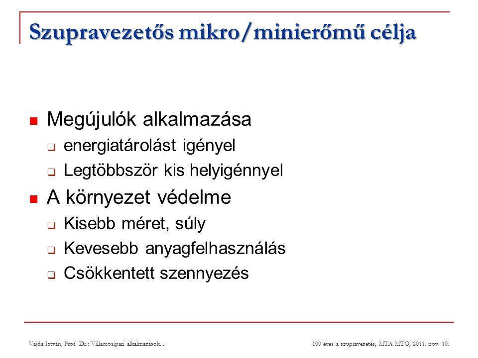 Vajda István, Prof. Dr.: Villamosipari alkalmazások... 100 éves a szupravezetés, MTA MTO, 2011. nov. 10. Szupravezetős mikro/minierőmű célja  Megújul