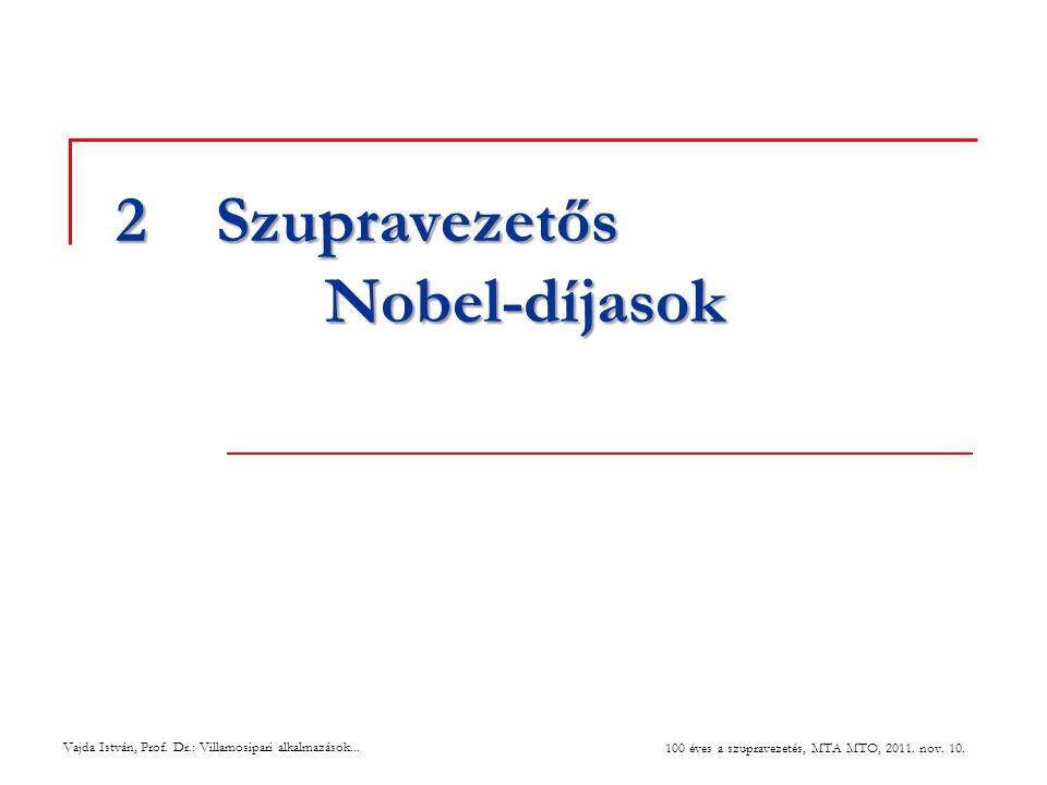 Vajda István, Prof. Dr.: Villamosipari alkalmazások... 100 éves a szupravezetés, MTA MTO, 2011. nov. 10. 2Szupravezetős Nobel-díjasok