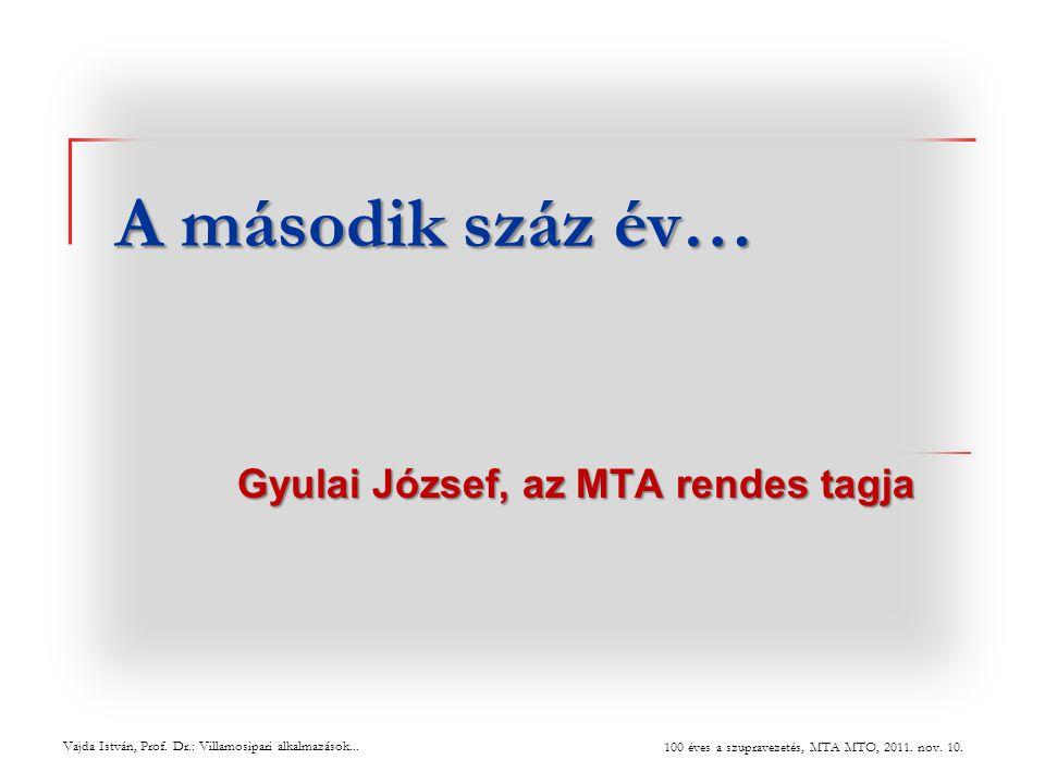 A második száz év… Gyulai József, az MTA rendes tagja Vajda István, Prof. Dr.: Villamosipari alkalmazások... 100 éves a szupravezetés, MTA MTO, 2011.