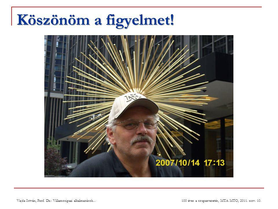 Köszönöm a figyelmet.Vajda István, Prof. Dr.: Villamosipari alkalmazások...