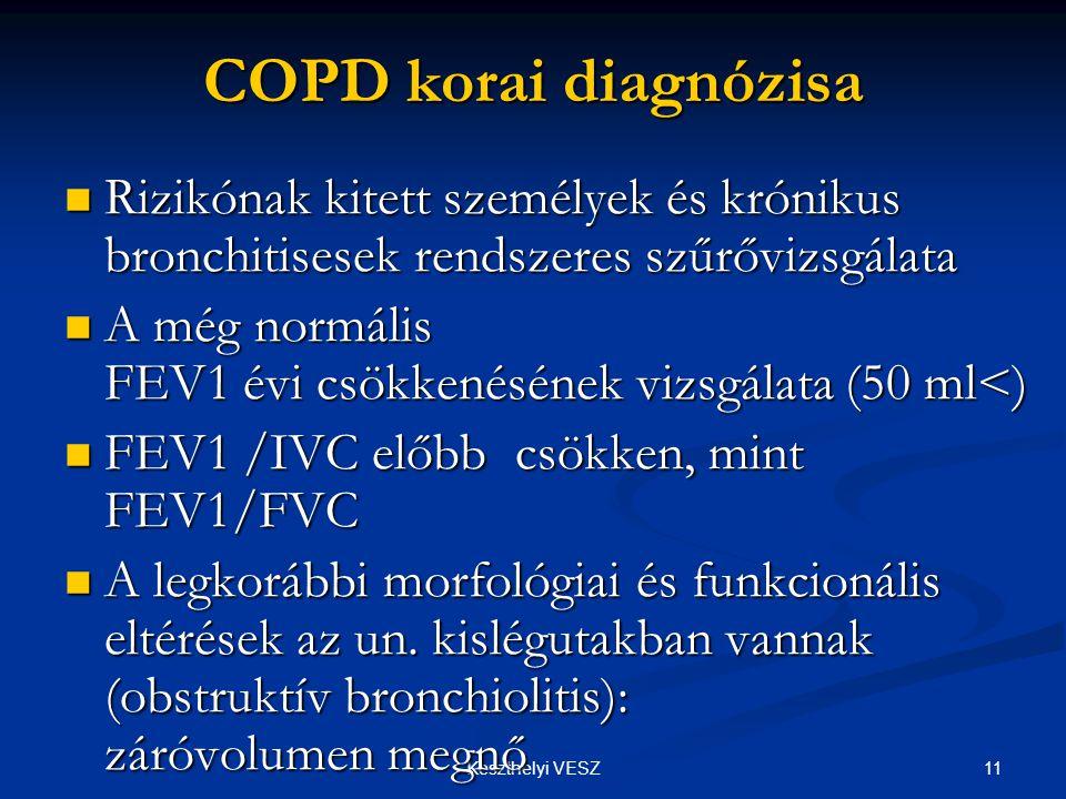 11Keszthelyi VESZ COPD korai diagnózisa  Rizikónak kitett személyek és krónikus bronchitisesek rendszeres szűrővizsgálata  A még normális FEV1 évi csökkenésének vizsgálata (50 ml<)  FEV1 /IVC előbb csökken, mint FEV1/FVC  A legkorábbi morfológiai és funkcionális eltérések az un.