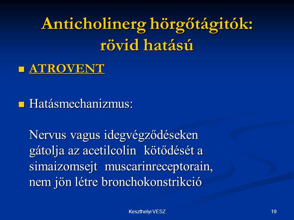 19Keszthelyi VESZ Anticholinerg hörgőtágitók: rövid hatású  ATROVENT  Hatásmechanizmus: Nervus vagus idegvégződéseken gátolja az acetilcolin kötődését a simaizomsejt muscarinreceptorain, nem jön létre bronchokonstrikció