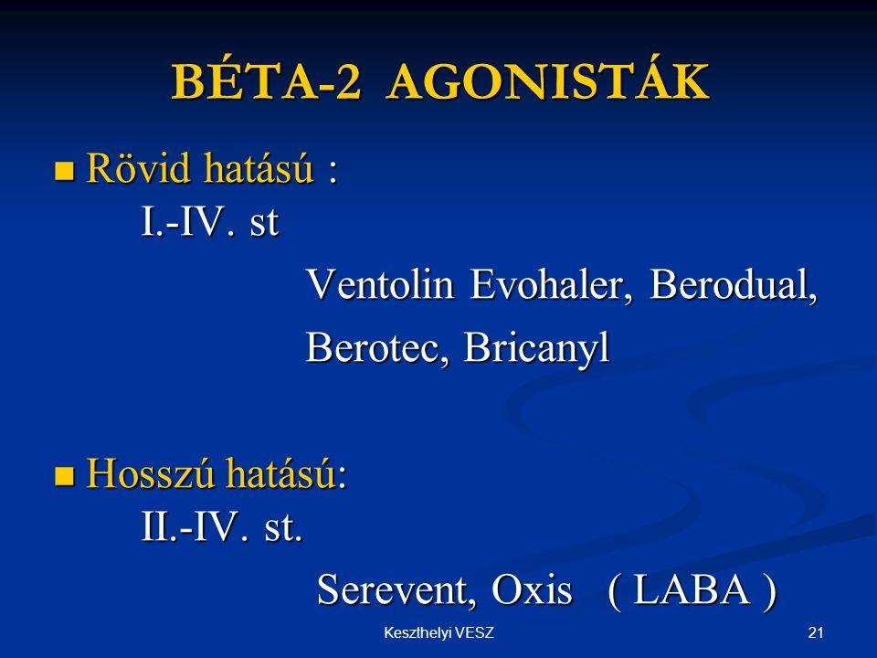 21Keszthelyi VESZ BÉTA-2 AGONISTÁK  Rövid hatású : I.-IV.