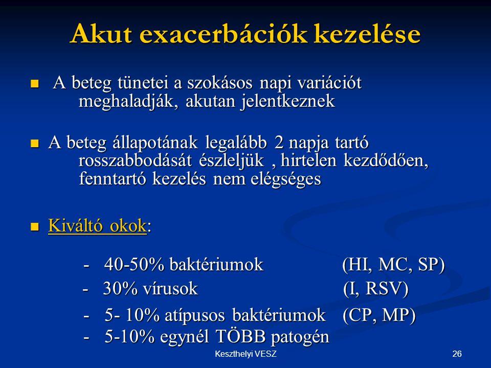 26Keszthelyi VESZ Akut exacerbációk kezelése  A beteg tünetei a szokásos napi variációt meghaladják, akutan jelentkeznek  A beteg állapotának legalább 2 napja tartó rosszabbodását észleljük, hirtelen kezdődően, fenntartó kezelés nem elégséges  Kiváltó okok: - 40-50% baktériumok (HI, MC, SP) - 30% vírusok (I, RSV) - 30% vírusok (I, RSV) - 5- 10% atípusos baktériumok (CP, MP) - 5-10% egynél TÖBB patogén - 5- 10% atípusos baktériumok (CP, MP) - 5-10% egynél TÖBB patogén