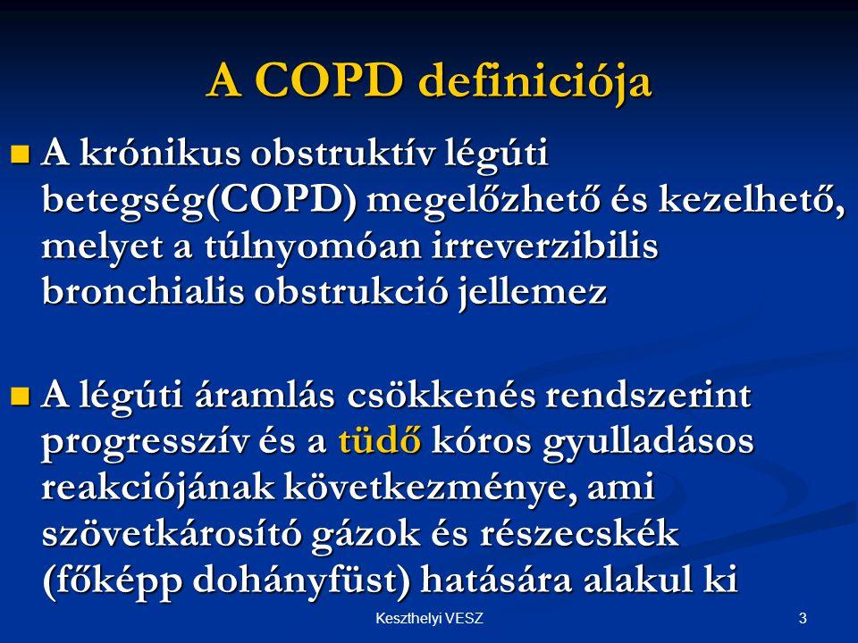 3Keszthelyi VESZ A COPD definiciója  A krónikus obstruktív légúti betegség(COPD) megelőzhető és kezelhető, melyet a túlnyomóan irreverzibilis bronchialis obstrukció jellemez  A légúti áramlás csökkenés rendszerint progresszív és a tüdő kóros gyulladásos reakciójának következménye, ami szövetkárosító gázok és részecskék (főképp dohányfüst) hatására alakul ki