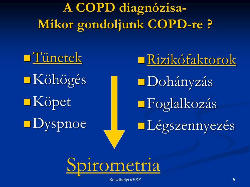 """6Keszthelyi VESZ A COPD kivizsgálása  Fizikális vizsgálat: emphysemas """"A típus bronchitises """"B típus mellkas alakja, rekeszállás, megnyúlt kilégzés, sípolás, búgás, köhögés, köpetürítés mellkas alakja, rekeszállás, megnyúlt kilégzés, sípolás, búgás, köhögés, köpetürítés  Mellkasröntgen: ptx, pneumónia, tumor, egyéb ptx, pneumónia, tumor, egyéb  Légzésfunkció: FEV1 mérés, FEV1/FVC, TLC, RV/TLC, DLCO  Speciális vizsgálatok: CT, alfa-antitripszin, PEF monitorozás, vérgáz, polisomnografia"""