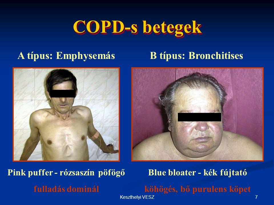 8Keszthelyi VESZ A COPD differenciál diagnózisa  Asthma: fiatalabb kor, atópiás tünetek társulása, gyakran öröklődik, változatos lefolyás, reverzibilitás bronchodilatátorokra  Bronchiectasia: nagy mennyiségű purulens köpet, gyakori bakteriális inf., szörtyzörejek, HR-CT  Pangásos szivelégtelenség: pangásos szörtyzörejek, LF: obstr.