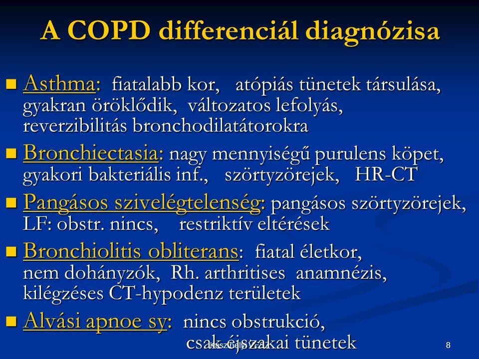 29Keszthelyi VESZ COPD 2007 Új gyógyszerek Inhalatív adagolás - Hosszú hatású anticholinerg - Hosszú hatású béta2- agonisták - Kombinált: ICS+LABA