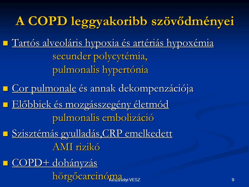 9Keszthelyi VESZ A COPD leggyakoribb szövődményei  Tartós alveoláris hypoxia és artériás hypoxémia secunder polycytémia, pulmonalis hypertónia  Cor pulmonale és annak dekompenzációja  Előbbiek és mozgásszegény életmód pulmonalis embolizáció  Szisztémás gyulladás,CRP emelkedett AMI rizikó  COPD+ dohányzás hörgőcarcinóma
