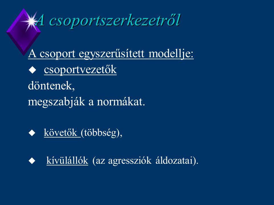 A csoportszerkezetről A csoport egyszerűsített modellje: u csoportvezetők döntenek, megszabják a normákat. u követők (többség), u kívülállók (az agres