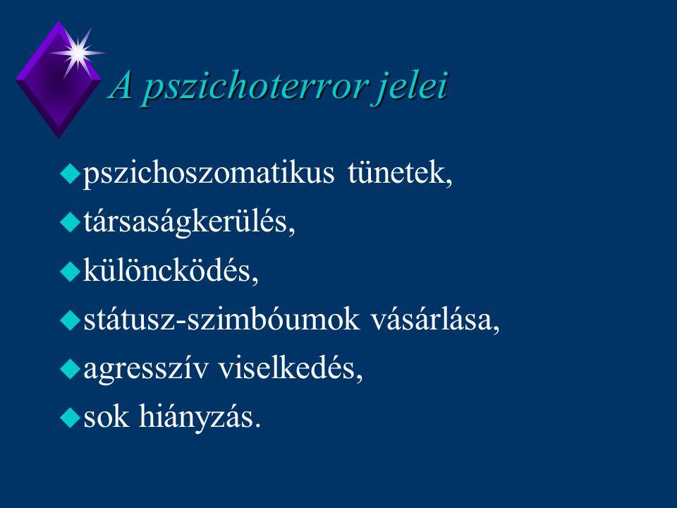 A pszichoterror jelei u pszichoszomatikus tünetek, u társaságkerülés, u különcködés, u státusz-szimbóumok vásárlása, u agresszív viselkedés, u sok hiá