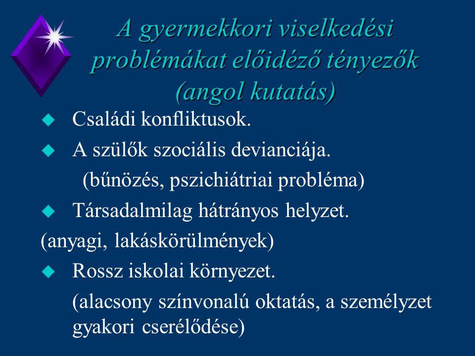 A gyermekkori viselkedési problémákat előidéző tényezők (angol kutatás) u Családi konfliktusok. u A szülők szociális devianciája. (bűnözés, pszichiátr