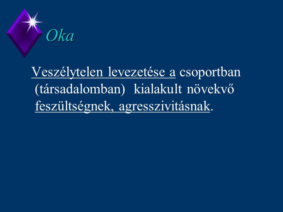 Oka Veszélytelen levezetése a csoportban (társadalomban) kialakult növekvő feszültségnek, agresszivitásnak.