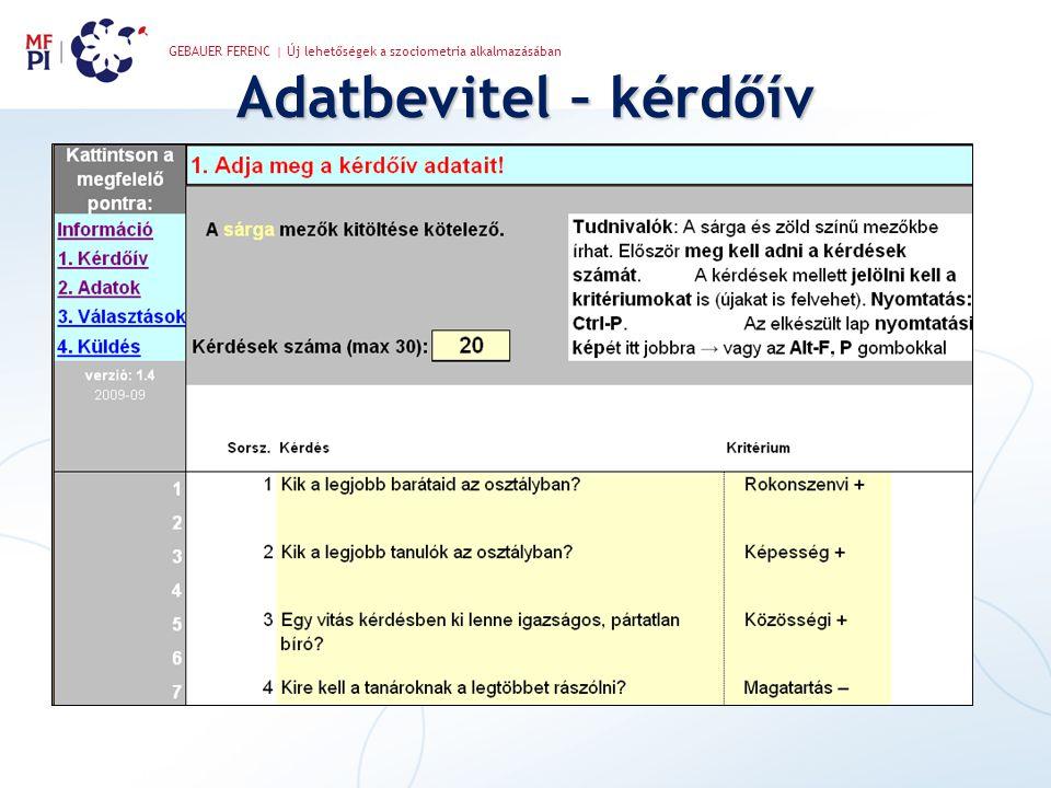 GEBAUER FERENC | Új lehetőségek a szociometria alkalmazásában Adatbevitel – kérdőív