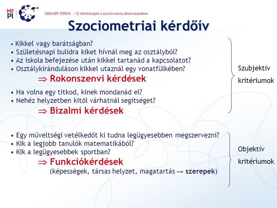 GEBAUER FERENC | Új lehetőségek a szociometria alkalmazásában Szociometriai kérdőív • Kikkel vagy barátságban? • Születésnapi bulidra kiket hívnál meg