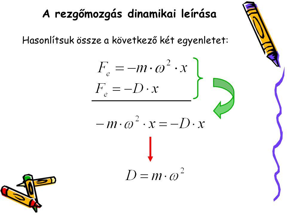 A rezgőmozgás dinamikai leírása Hasonlítsuk össze a következő két egyenletet: