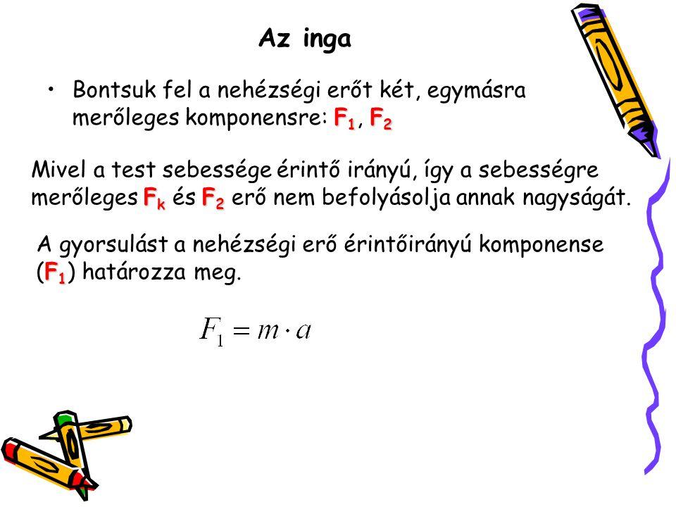 Az inga F 1 F 2 •Bontsuk fel a nehézségi erőt két, egymásra merőleges komponensre: F 1, F 2 F k F 2 Mivel a test sebessége érintő irányú, így a sebess