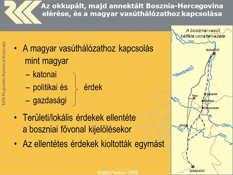 MTA Regionális Kutatások Központja Erdősi Ferenc • 2009 11 Az okkupált, majd annektált Bosznia-Hercegovina elérése, és a magyar vasúthálózathoz kapcso