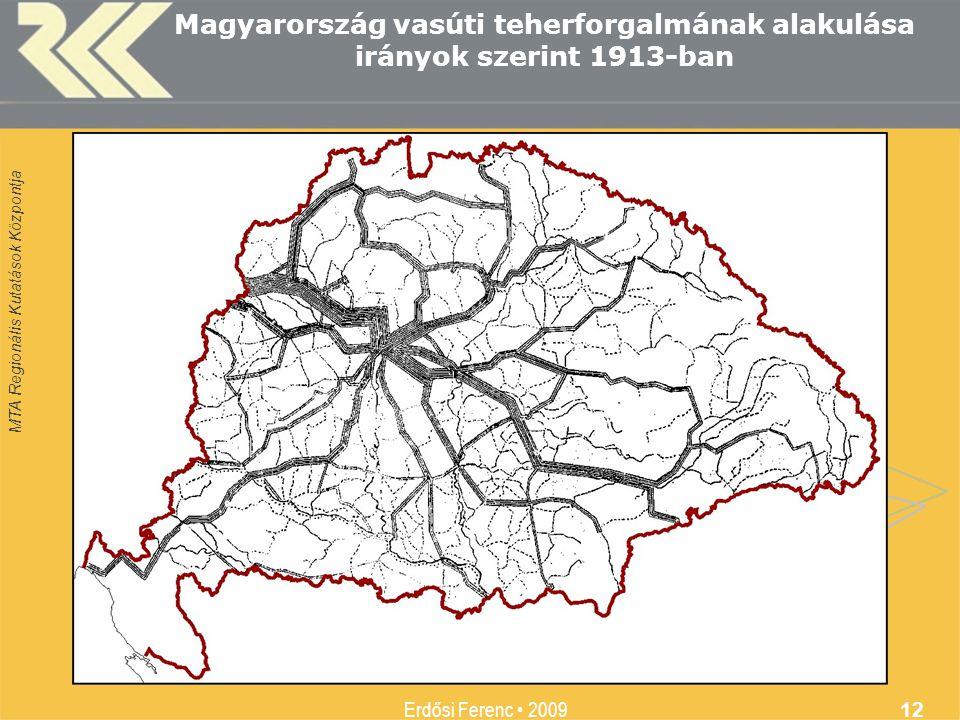 MTA Regionális Kutatások Központja Erdősi Ferenc • 2009 12 Magyarország vasúti teherforgalmának alakulása irányok szerint 1913-ban