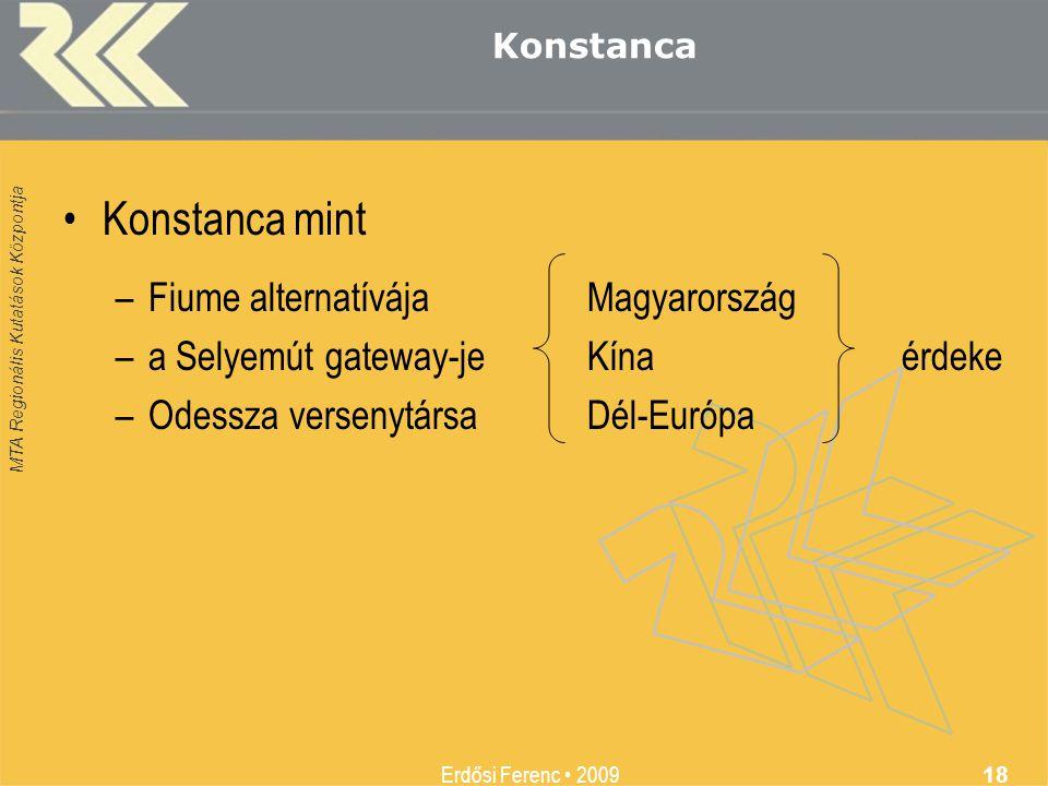 MTA Regionális Kutatások Központja Erdősi Ferenc • 2009 18 Konstanca •Konstanca mint –Fiume alternatívájaMagyarország –a Selyemút gateway-jeKínaérdeke