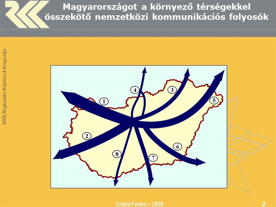 MTA Regionális Kutatások Központja Erdősi Ferenc • 2009 2 Magyarországot a környező térségekkel összekötő nemzetközi kommunikációs folyosók