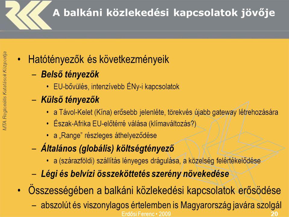 MTA Regionális Kutatások Központja Erdősi Ferenc • 2009 20 A balkáni közlekedési kapcsolatok jövője •Hatótényezők és következményeik – Belső tényezők