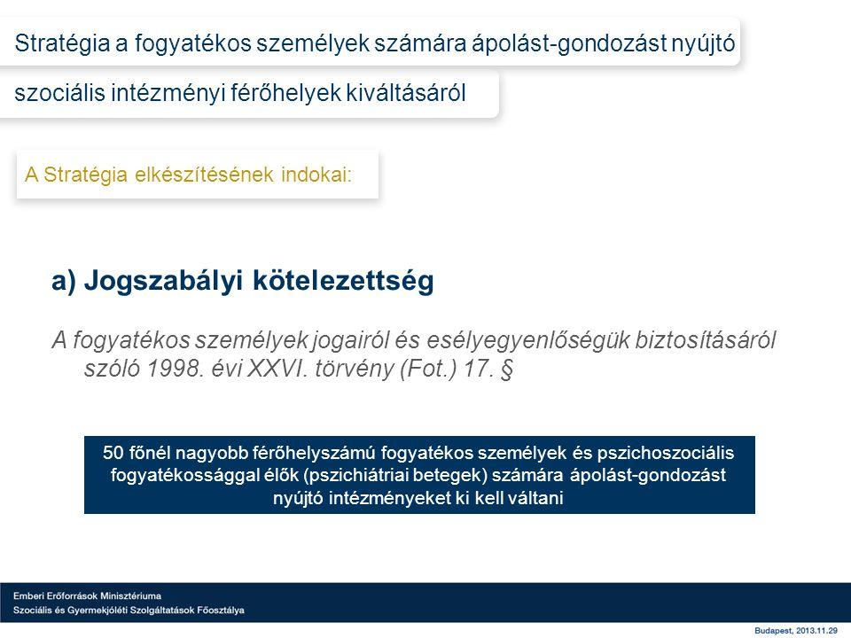 a) Jogszabályi kötelezettség A fogyatékos személyek jogairól és esélyegyenlőségük biztosításáról szóló 1998.